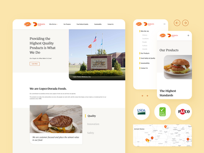 Food Manufacturer Website corporate corporation hamburger food mobile design clean ui design uiux webflow sketch website minimal flat web icon ux vector ui
