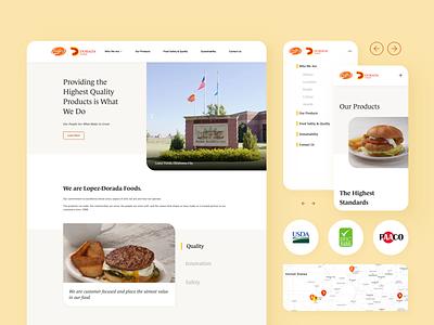 Food Manufacturer Website corporate corporation hamburger food mobile design clean ui design uiux webflow sketch website minimal flat web icon ux vector ui