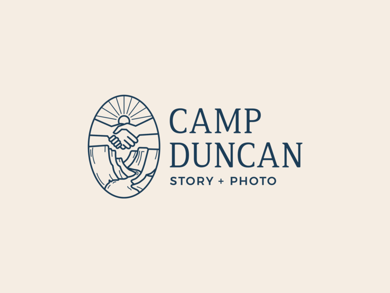 Camp Duncan Story + Photo Logo stories camp line work icon artwork river sunrise hands hand shake canyon photography logo adventure photography