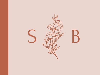 Hand drawn floral logo initials blush feminine wedding suite logo flowers florals hand drawn