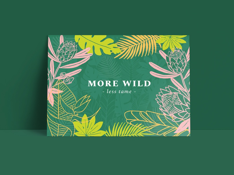 Alt Summit Postcard - Palm Springs Inspired illustration postcard conference creative protea flower tropical leaves tropical palm springs palm leaves palm pattern design hand drawn