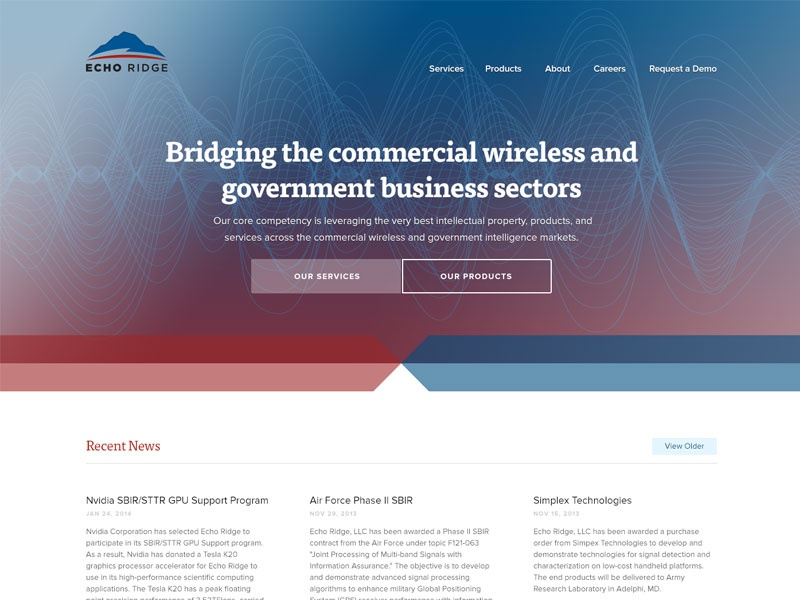 Echo Ridge 15 radio waves red blue home page call to action