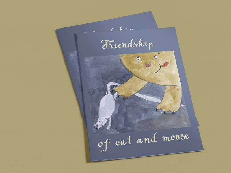 """Children illustration """"Friendship of cat and mouse"""""""