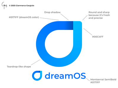 dreamOS Teardrop Logo icon illustration vector branding logo design os operating system blue and white blue