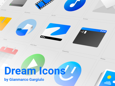 Dream Icons icon set icons material design 2 material design app ui os operating system design blue and white blue