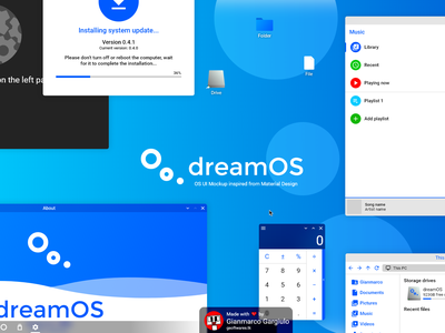 dreamOS - OS UI Mockup inspired from Material Design material design 2 material design operating system os ui  ux design ui