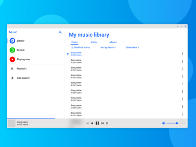 dreamMusic App music app music blue and white blue app ui os ui  ux design operating system material design 2 material design