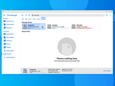 dreamOS File Manager ux mockup concept design blue and white blue app ui os ui  ux design operating system material design 2 material design