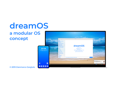 dreamOS Mockup Milestone 5 concept design blue and white blue app ui os operating system material design 2 material design