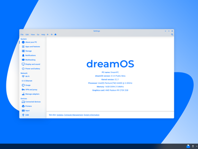 dreamOS Settings App Mockup ux design blue and white blue app ui os operating system material design 2 material design