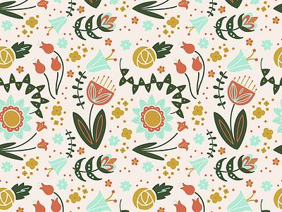 Modern Botanical Folk Art Pattern patter design floral pattern pattern botanical modern folk art folk art