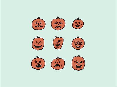 Pumpkin-moji Vector halloween jack-o-lantern emoji pumpkin vector graphics vector illustration
