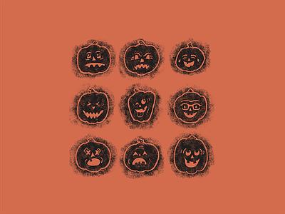Pumpkin-moji Crosshatch jack-o-lantern pumpkin emoji spooky season halloween