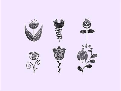 Creepy Folk Art Botanicals spooky season halloween botanical modern folk art folk art creepy vibes