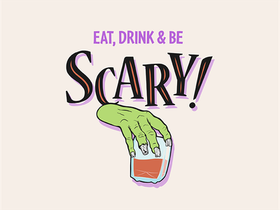 Eat, Drink & Be Scary Zombie halloween whiskey zombie art licensing available to license