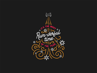 It's the Most Rum-derful Time of the Year snowflake christmas tree holiday christmas most wonderful time of the year typography rum