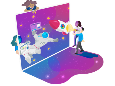 Launch to Space launch space logo digital graphic design graphic drawing colorful character website art vector illustration design