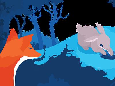 Illustration of Fox and Rabbit childrens illustration childrens book illustrator character colorful graphic drawing graphic design art vector illustration