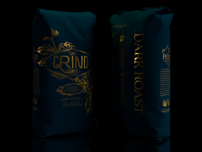 The Grind Coffee Packaging 3d adobedimension design art 30logos grind packagaing coffee