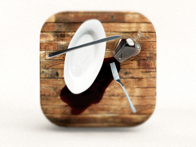 Accident App Icon app icon app icon ios ios7 cutlery knife fork plate wine wood falling