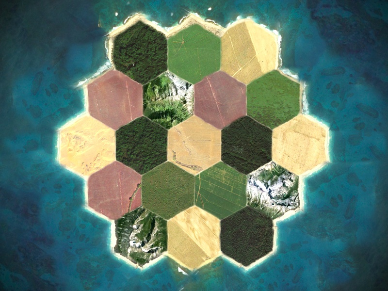 Settlers IRL settlers of catan board game google maps in real life hexagon icon ocean island