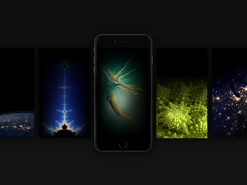 [Freebie] iOS9 Black iPhone Wallpapers space stars neuron fractal apple freebie wallpaper ios9
