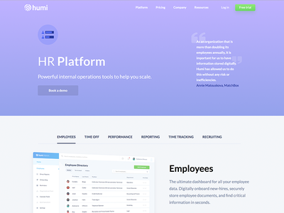 Employees Page benefits payroll hr humi