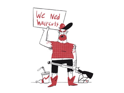 STAY HOME! illustration illustrator haircut boots procrate beer coke mcdonalds gun beard charachter design redneck stay home