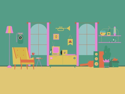 GREEN ROOM phone vynil tv pink window lamp tea speaker green fish chair graphic design design illustration