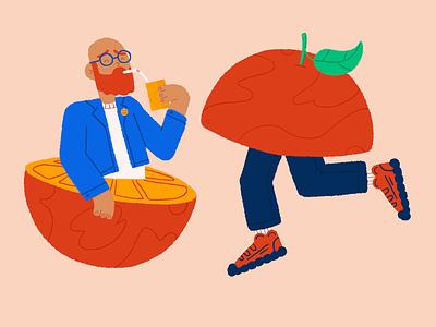 ORANGE character juice orange design illustration