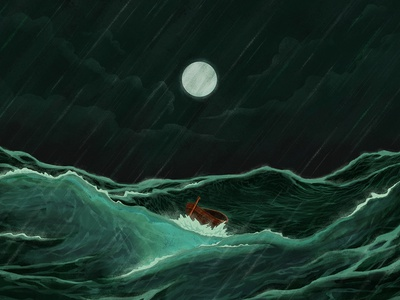 a distant shore water boat moon night green storm sea illustration design