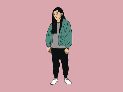 Awkwafina movie jacket green china newyork woman character illustration girl thefarewell
