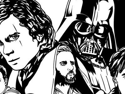 Star Wars Destiny WIP kenobi dart vader anakin inking vector illustration star wars