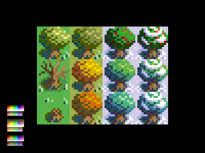Seasonal Bushes 16bit 16-bit tiles videogame game pixel bush seasons winter autumn fall summer