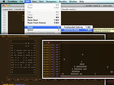 asciiArtToMap() and Overwrite Mode, FTW! akihabara engine videogame game ascii textmate edit level design art text