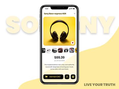 Ecommerce Application Design uiux ecommerce design ecommerce app sony android app design design headphones yellow mobile app design app design ui design