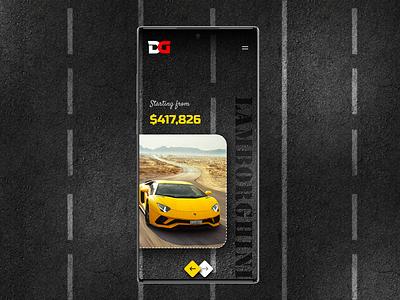 Custom Cars app concept app design automobile custom lamborghini yellow cars ux design branding android app design ui