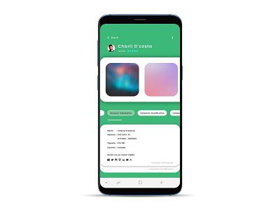 Personal info app / My profile screen my account ux design ui design front-end development android app design app personal brand design