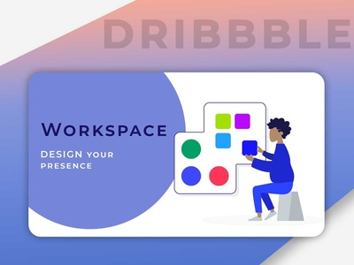 Workspace Imge illustration front-end development personal brand banner ad design dribble userinterface workspace banner