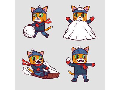 Winter Gato orange cold sledding snowball snow winter gato cat