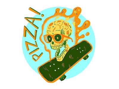 Pizza Skull hellofromthemagictavern skateboard skull pizza