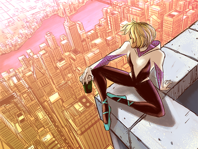 Morning Coffee comic art comic intothespiderverse spidergwen gwenstacy