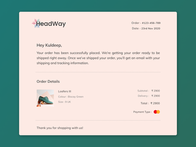 Email Receipt  #017 shoes 017 mail confirmation uxui ux receipt email receipt email webdesign web ui design daily 100 challenge dailyuichallenge dailyui