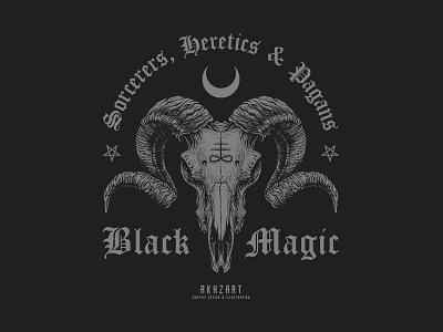 Black Magic badge design clothing design apparel design satanic deathcore band merch graphic design akhzart black work macabre black metal death metal darkart illuminati satan black magic devil demon skull goat