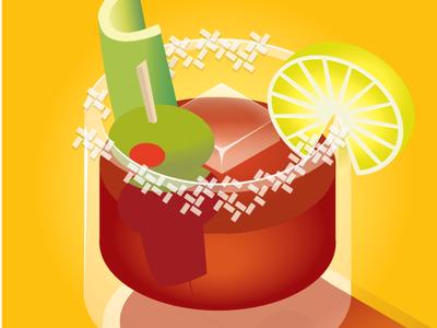 Bloody Mary vector illustration ice celery lemon olive tomato vodka bloody mary cocktail