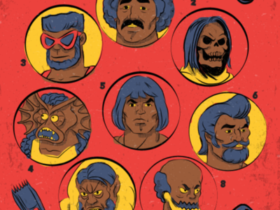 Detail of Master Cuts of the Universe illustration vector trap jaw beast man skeletor man at arms mer man he man masters of the universe hairstyle haircut