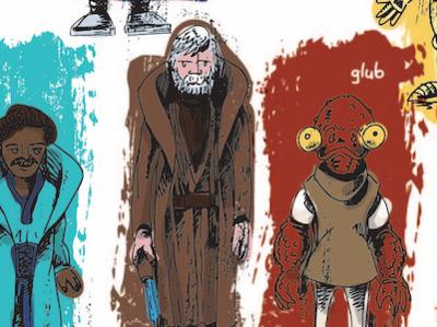 Detail of Star Wars Action Figure poster vector pen and ink illustration action figure return of the jedi empire strikes back admiral ackbar kenobi obi wan lando star wars