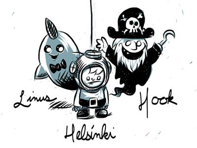 Linus, Helsinki and Hook characters