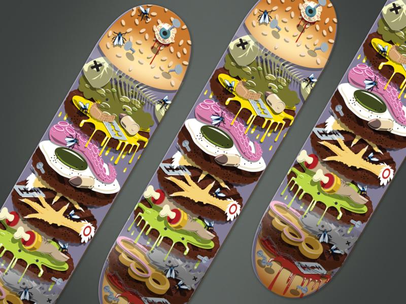 Trash Burger Skateboard Design dead fish skateboard vector illustration burger bullet razor blade tentacle brass knuckles chicken feet eyeball fly