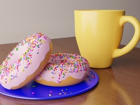 Tasty donuts with cup of tea